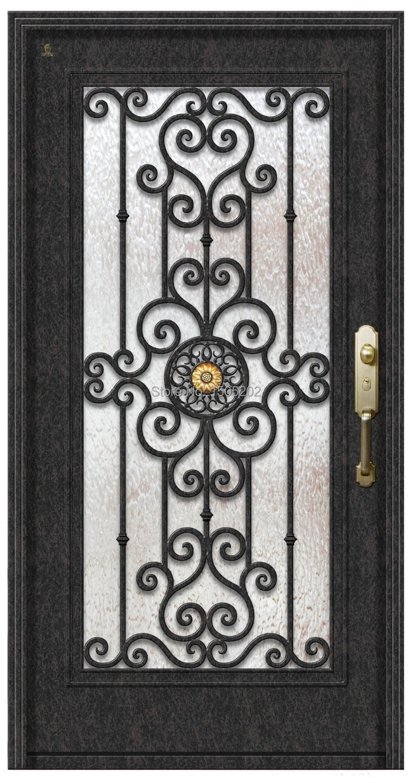 Hierro forjado doble moderna de acero puerta de entrada en puertas de mejoras para el hogar en - Puertas de hierro exterior ...