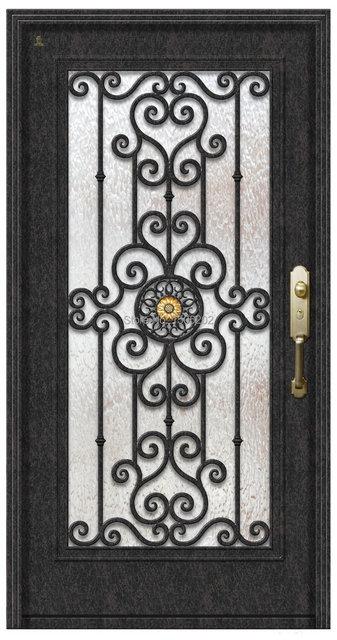 Hierro forjado doble moderna de acero puerta de entrada en for Puertas de entrada de hierro forjado
