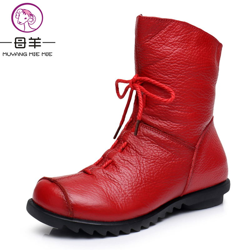 MUYANG MIE MIE Women Genuine Leather Flat Snow Boots Fashion Casual Warm Winter Women Shoes Woman Lace-up Boots Women Boots muyang mie mie plus size 35 43 winter women shoes woman genuine leather flat ankle boots 2016 fashion snow boots women boots