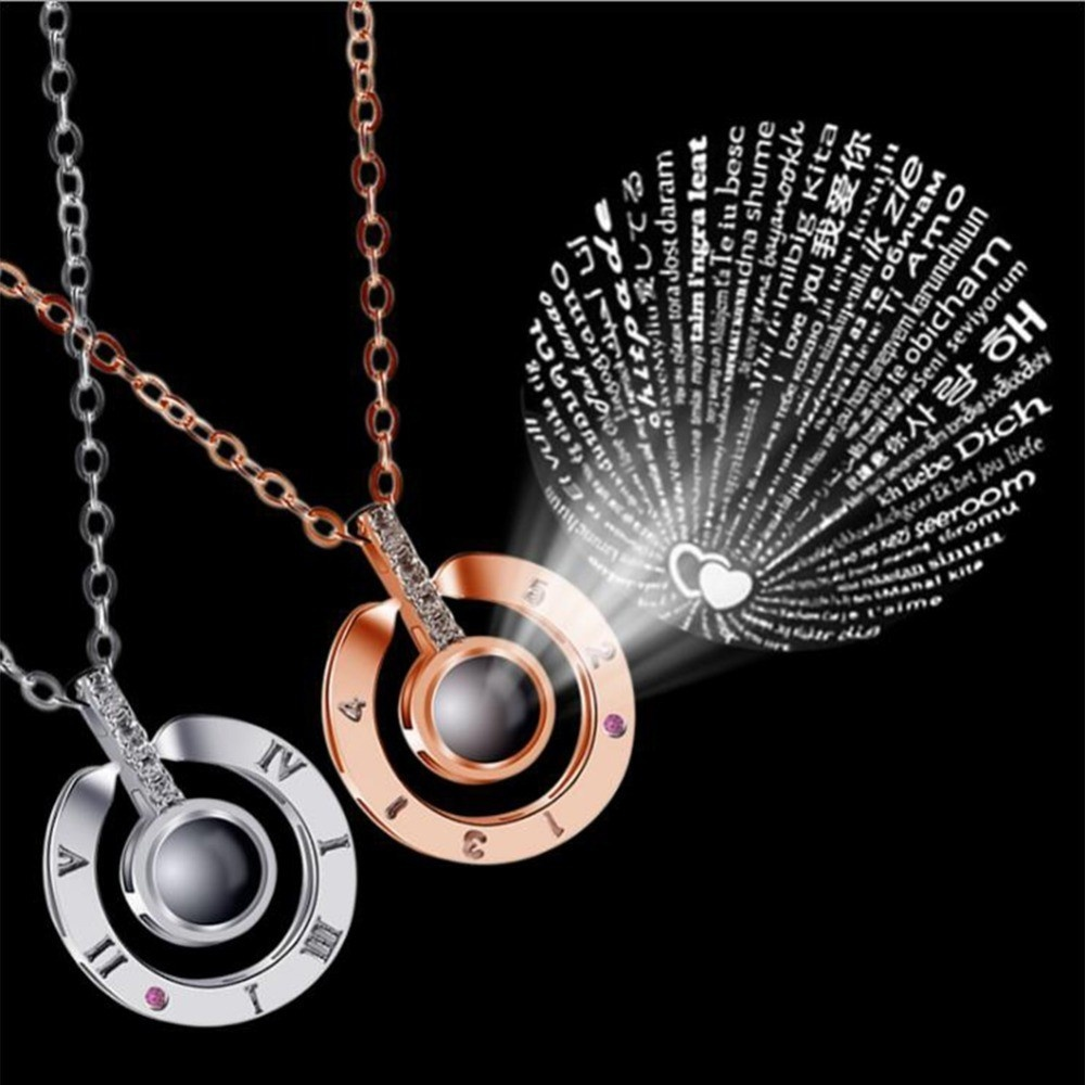 Creative Love Necklace 100 Kind of Language I Love You Message Pendant Charm Necklace