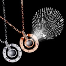 문자발송 & # 목걸이 100 언어 I love you 프로젝션 펜 던 트 Necklace Women Jewelry 콜리어 Femme Bijoux 2018 best friends Gifts(China)