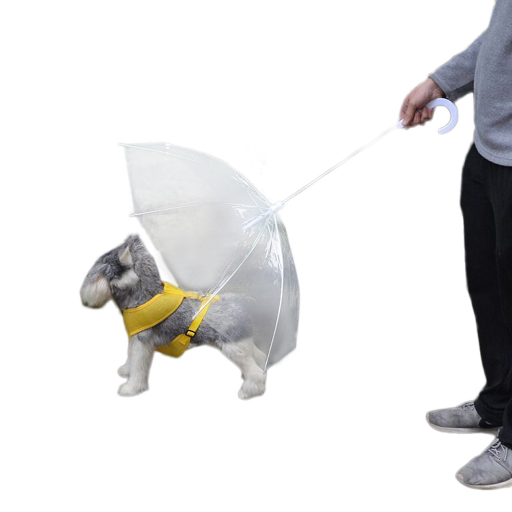 Transparent Pet Umbrella Small Dog Umbrella Rain Gear with Dog Leads Keeps Pet Dry Comfortable In Rain Snow waterproof windproof