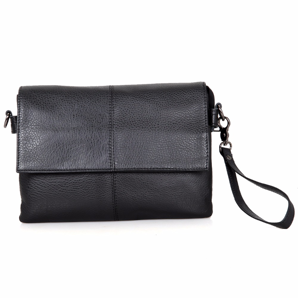 ФОТО JMD Genuine Tanned Leather Sling Bag Unisex Small Messenger Bag Black Cross Body Shoulder Bags C003A