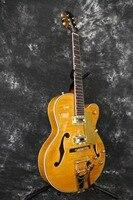 Grueso semi Hollow Cuerpo aaaaa Arce flameado Top Bigsby del oro ámbar Jazz es 335 325 345 eléctrico Guitarras ra todo color aceptar