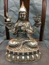 12''bronze Мельхиор Lotus база сиденье Тибетский буддистский монах Будда Tsongkhapa