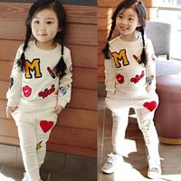 Retail 2017 New Girls Clothing Sets Baby Kids Clothes Children Clothing T Shirt Pants 2pcs Lipstick