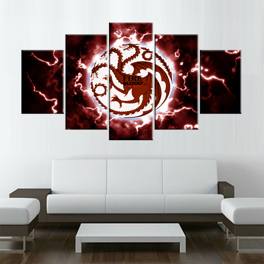 5 pieces HD Modular Wall Paintings Game of Thrones Poster Good Quality Modern Oil Painting on Canvas Pictures For Living Room