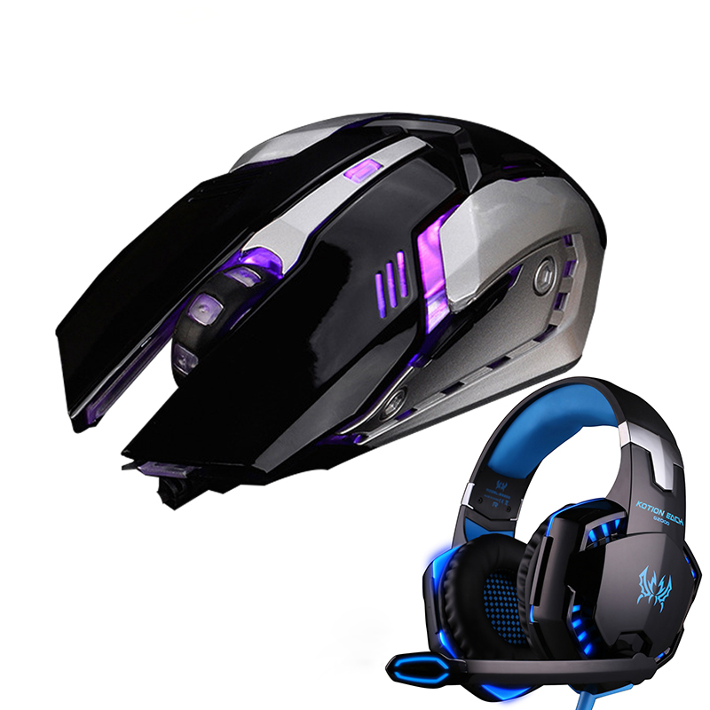 USB Wired Gaming Mouse Gamer Mice Gaming Headphone Stereo Headband Game Headsets PC Gamer for Computer PC Laptop Dota 2 LOL CS