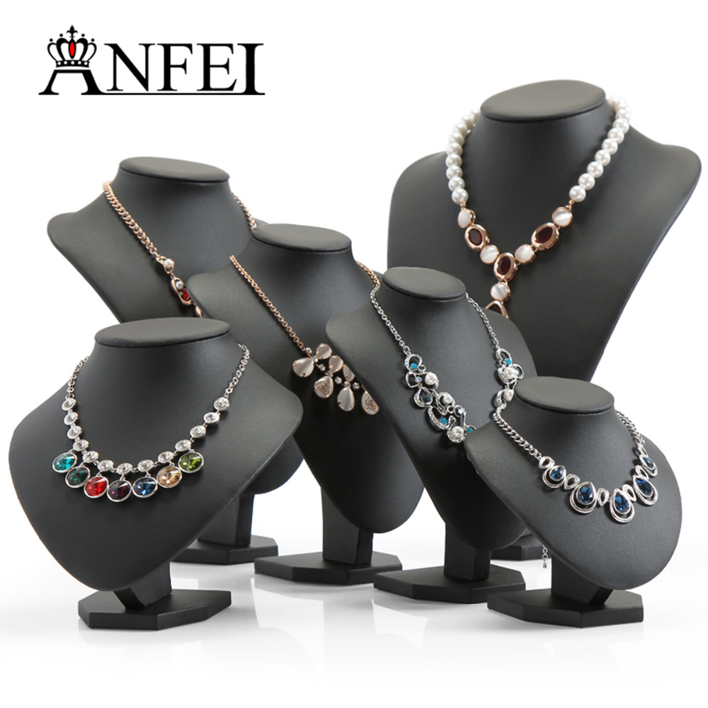 ANFEI Black Volor Mannequin Shape PU Leather Jewelry Display Stand For Counter Showcase Necklace/Pendant Bust Displays Holder