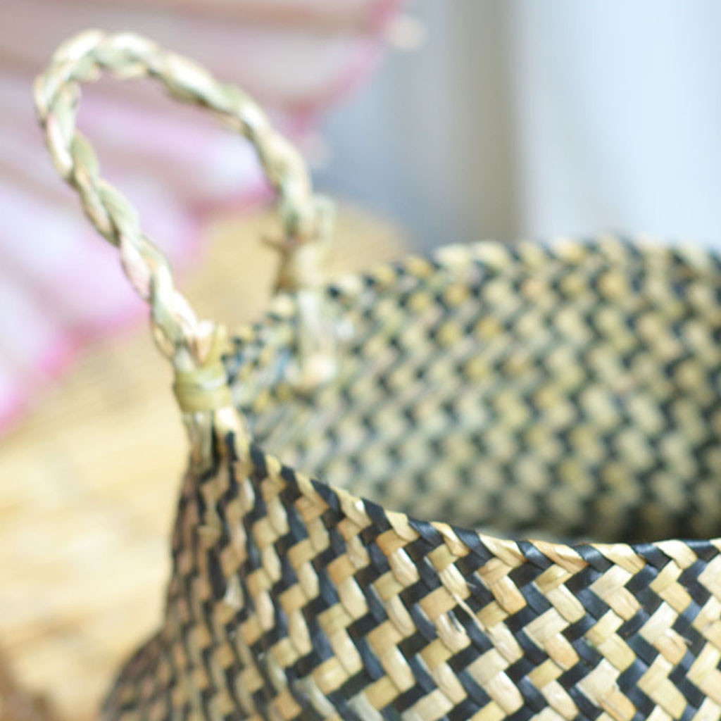 Image 4 - 2019 online star item Household necessities Seagrass Wicker Basket Flower Pot Folding Basket Dirty Basket Storage Decoration-in Flower Pots & Planters from Home & Garden