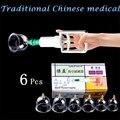 Tradicional Chinesa médica 6 Pcs Set Massager terapia Cupping Jar para o Aparelho de Vácuo com arma de gás relaxar massageadores bombas
