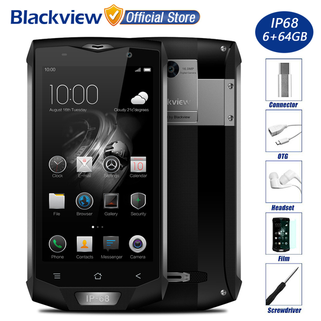 "Blackview BV8000 Pro IP68 Водонепроницаемый Мобильный Телефон 5.0 ""FHD MTK6757V Окта основные 6 ГБ RAM 64 ГБ ROM 16MP Камера Стороны Отпечатков Пальцев 4 Г LTE"