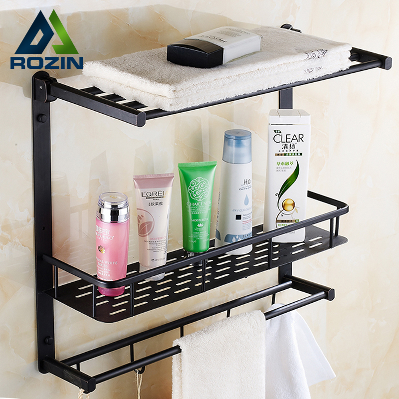 Oil Rubbed Bronze Luxury Bathroom Storage Rack Bath Towel Shelf Towel Rod Towel Hooks Wall Mounted Towel Bar