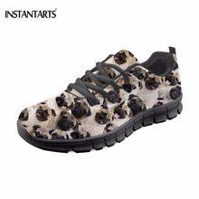 7d722823901 INSTANTARTS Kawaii 3D щенок Мопс собаки Хаски печать девочек летние  кроссовки на шнуровке модные брендовые