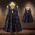 Summer Style Family Clothing Matching Mother And Daughter Dresses Cotton Sleeveless Dress Cherry Print Family Matching Outfits