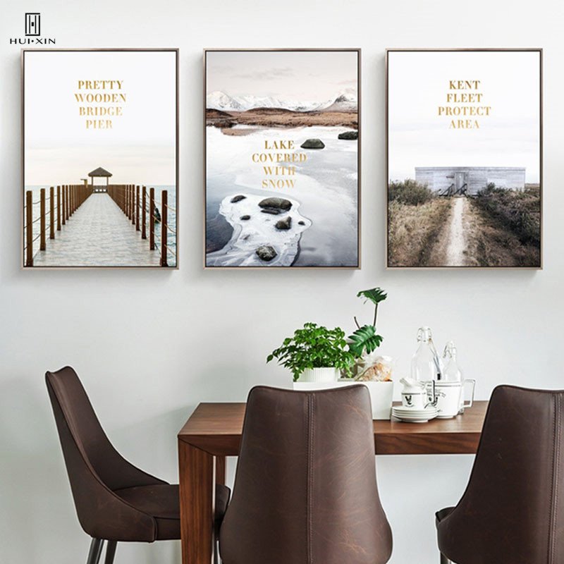 Nordic Fresh Style Decorative Canvas Posters Paintings Of The Pretty Wooden Bridge Pier Lake Covered With Snow For Home Decor