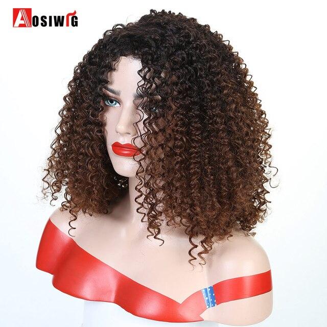 Krótki Afro perwersyjne peruki syntetyczne z kręconymi włosami dla czarnych kobiet Ombre brązowy naturalne Afro kręcone peruki z grzywką na imprezę Cosplay peruki AOSIWIG
