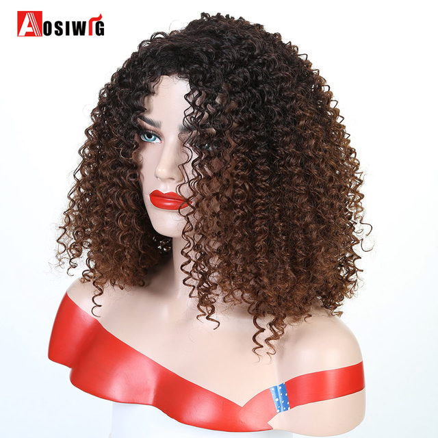 Short Afro Kinky Curly Synthetic Wigs For Black Women Ombre Brown Natural Afro Curly Wigs With Bangs Cosplay Party Wigs AOSIWIG