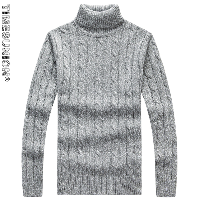 Moda de cuello alto de los hombres patrón de rayas suéter masculino ...