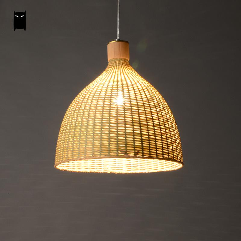 Hand woven bamboo rattan round basket lampshade pendant light fixture rustic asian country - Lamparas asiaticas ...