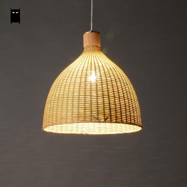 Hand Woven Bamboo Rattan Round Basket Lampshade Pendant
