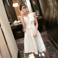 Make women's free agent blasting stereoscopic bowknot sexy temperament of waist dress white dress 7048