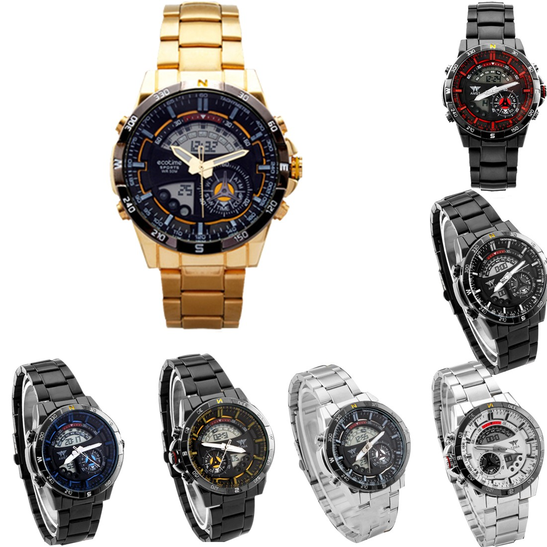 Men Outdoor Sport Watches Waterproof Dual Multifunctional Digital Display Wristwatch Fashion Design Practical