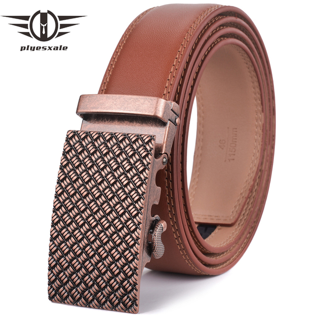 311d2833c1a4f Plyesxale Brown Belt Men 2018 Luxury Brand Automatic Buckle Belt Leather  Belts For Men High Quality