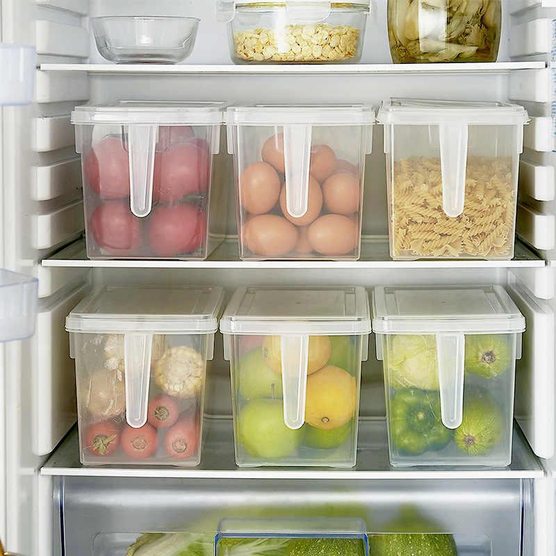 Caja de almacenamiento de plástico PP refrigerador con mango de cocina  organizadores caja de fruta sellada 47f8088a31c3