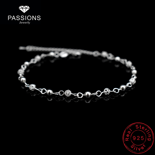 975207f90 New Charm Hollow Ball Foot Chain Anklet 925 Sterling Silver Fashion Small  Round Bead Ball Anklets Chain For Women Jewelry Gift