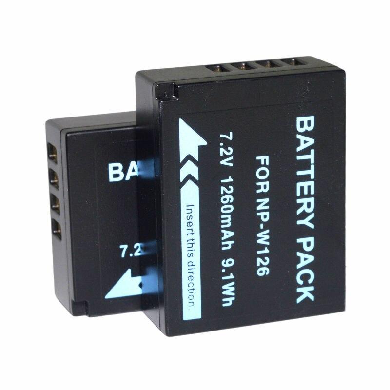2 pcs NP-W126S Batterie Pour Fujifilm X-A1 X-A2 X-A3 X-A10 X-E1 X-E2 X-E2S X-M1 X-Pro1 X-Pro2 X-T1 X-T2 X-T10 X-T20 x100F Caméra