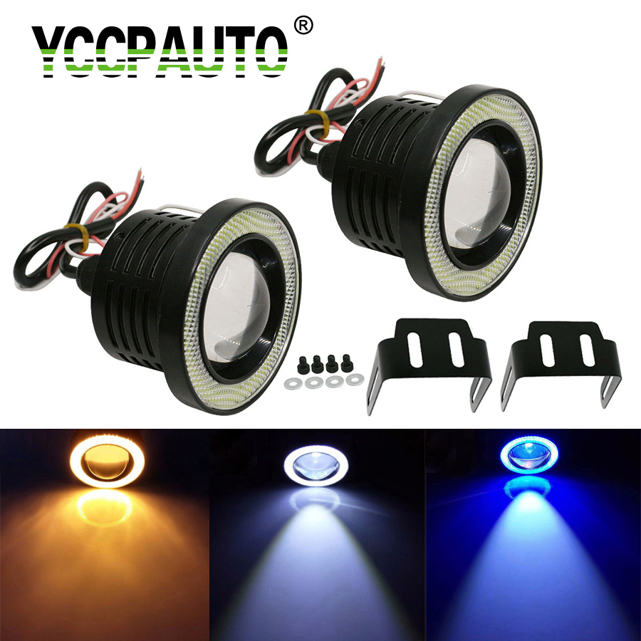 YCCPAUTO Car Projector Halo Angel Eyes Rings LED Fog Light With Lens COB 30W For SUV ATV Off Road Fog Lights White Blue Yellow