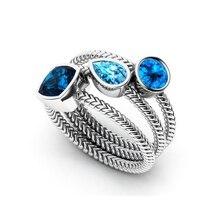 ROMAD 3Pcs/set Crystal Rings For Women Big Blue zircon Ring Set Silver Vintage Ring Wedding Promise Gem Stone Engagement Ring R5 недорго, оригинальная цена