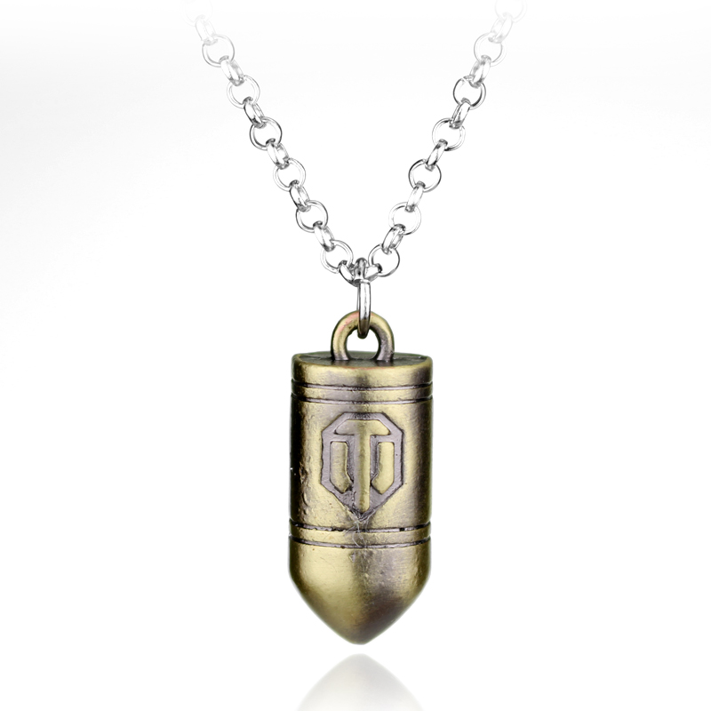Free Shipping Online Game World of Tanks WOT Metal Alloy Bullet Pendent Necklace High Quality Fashion Jewelry For Women And Men