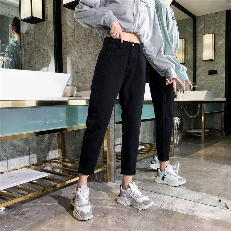 GCAROL 19 Spring Fall Elastic Waist Retro Old Pants Ankle Length First Love Loose Vintage Straight Pants Plus Size 25-32 4