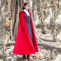 2019 Autumn Winter Women Bat sleeve Hooded Thick Capes Retro Loose Woolen Cloak Pocket Female Button Ponchos cc31