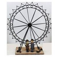 Nordic Resin Couple Iron Ferris Wheel Decorative Figurine Creative Iron Retro Home Decoration Handicraft Gift Office Study Decor