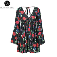Lily Rosie Girl Black Floral Print Women Mini Dresses 2018 Summer Beach Party Sexy V Neck