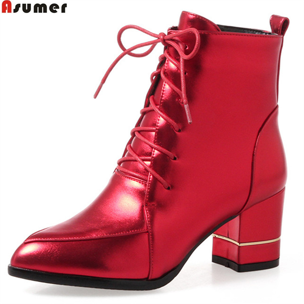 ASUMER 2018 hot sale new arrive women boots pointed toe lace up ladies boots black red gray winter Keep warm ankle boots armoire hot sales black yellow red brown gray flats women slouch ankle boots solid ladies winter nude shoes aa 3 nubuck