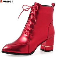 ASUMER 2018 Hot Sale New Arrive Women Boots Pointed Toe Lace Up Ladies Boots Black Red