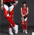 29-38 nuevos hombres de moda trajes del cantante personalizados estilo de estrellas patchwork pantalones de cuero dj hombres de la motocicleta pantalones largos