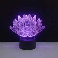 Lotus Flowers Night Light Touch Control 3D LED Chinese Style Home DIY Decor 7 Colors Changing