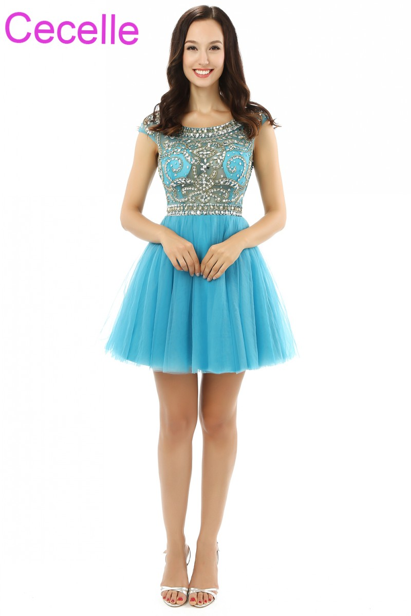 Turquoise Tulle Short   Cocktail     Dresses   2019 Beading Top Sexy Illusion A-line Juniors Infomal Short Prom   Dress   Real Photos Custom