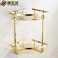 Golden Triangle Basket style Rack Stainless Steel Bathroom Accessories Double Corner Shelf Bathroom Toilet Triangle Rack