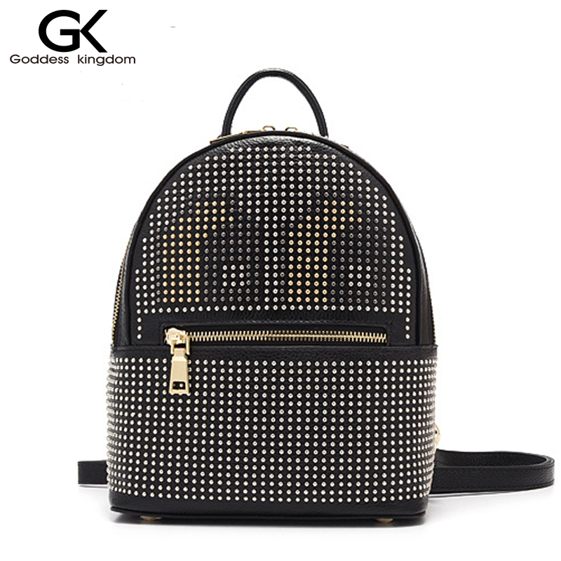 ФОТО GODDESS KINGDOM New Solid color Color rock stud fashion women genuine leather backpack  monster school bag hot selling M2291
