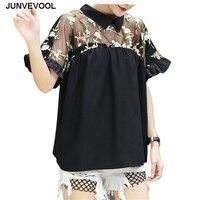 Harajuku T-Shirt Femmes HOT Top En Mousseline de Soie Transparent D'été t chemises Vente Chaude Sexy Élégant Tops Floral Rétro Vogue T-shirts Vêtements