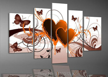 Yellow Flower Butterfly Double Heart Oil Painting High Quality 5 Pc Set On Canvas Home Decorative Modern Picture For Living Room