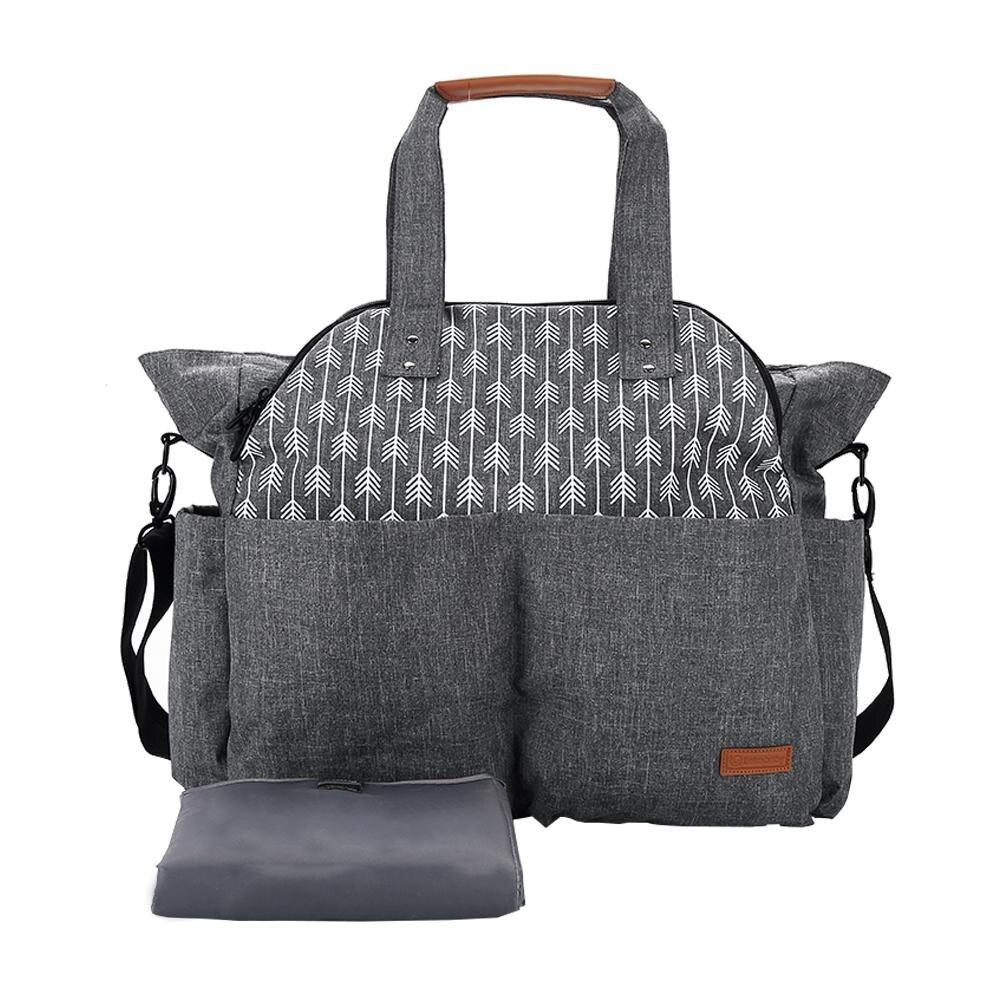 Sac momie multifonctionnel sac à bandoulière Portable de grande capacité sac à langer sac à dos de voyage étanche avec sangle de poussette