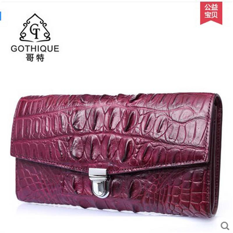 Gete new female alligator bag long women clutches crocodile leather evening bag fashion female bag lock yuanyu new alligator long female bag real crocodile leather high end imported large women clutches
