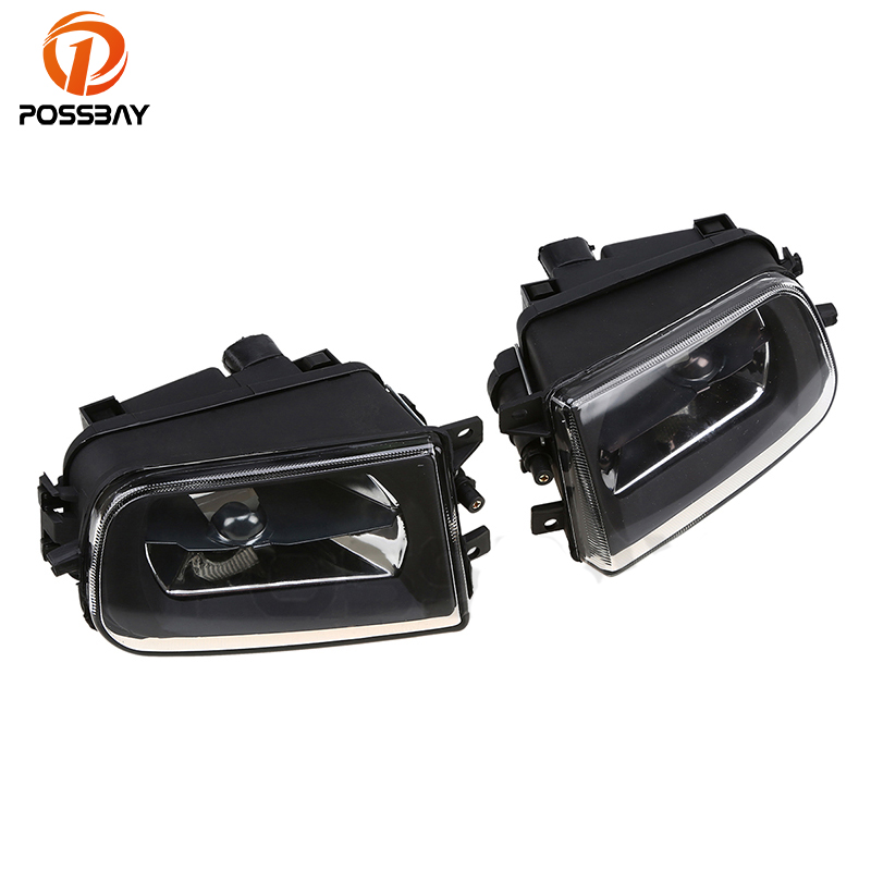 POSSBAY Car Cover Front Driving Bumper Fog Light Lamp Cover Clear Lens Without Bulbs Protector For BMW E39 5 Series 1995-2000 pair car front headlamp clear lens headlight plastic shell clear cover for bmw e90 e91 2004 2005 2006 2007